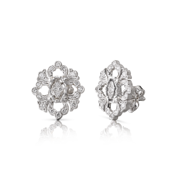 Buccellati - Earrings - Orecchini a Bottone Opera Full Pavé - Jewelry